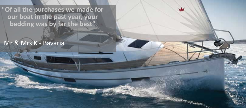 Marine Bedding supply and fit boat bedding for Bavaria sailing boat